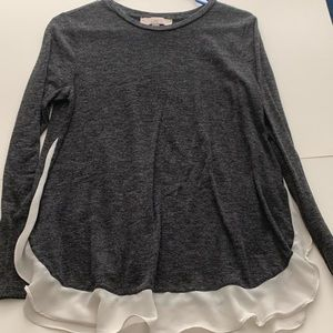 Gray Long Sleeve Tee with White Chiffon Under